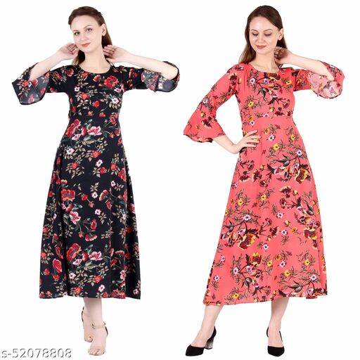 Heavens Creation A Line Dress with Inner Cotton Lining Black Printed and Coral Printed Pack of 2
