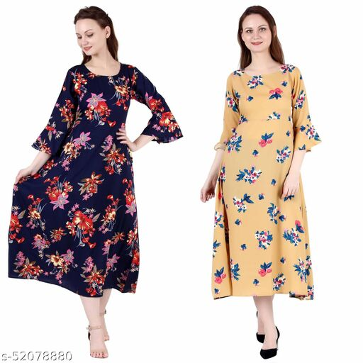 Heavens Creation A Line Dress with Inner Cotton Lining Nevy Printed and Mustard Printed Pack of 2