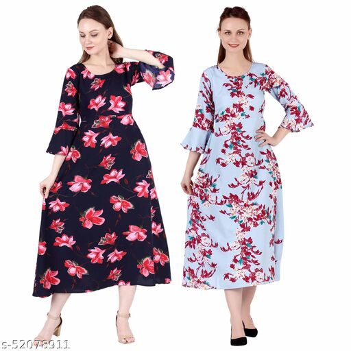 Heavens Creation A Line Dress with Inner Cotton Lining Blue Pink Flower Printed and Light Blue Printed Pack of 2 Gowns