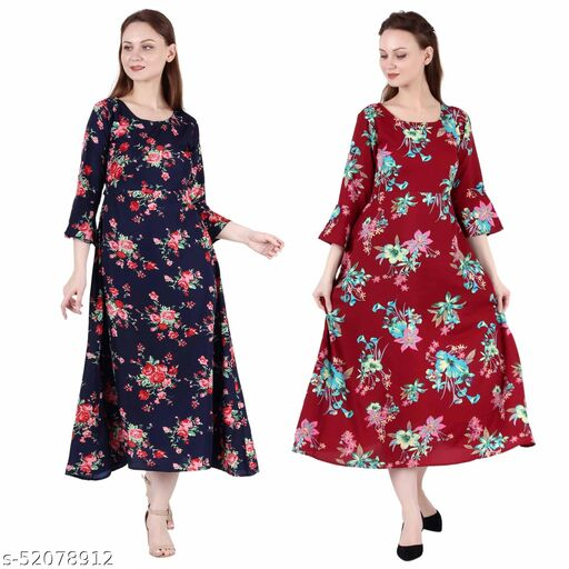 Heavens Creation A Line Dress with Inner Cotton Lining Nevy Blue Printed and Maroon Prined Pack of 2 Gowns
