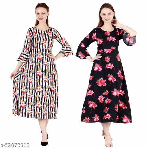 Heavens Creation A Line Dress with Inner Cotton Lining Multi Prined and Black Pink Flower Printed Pack of 2 Gowns