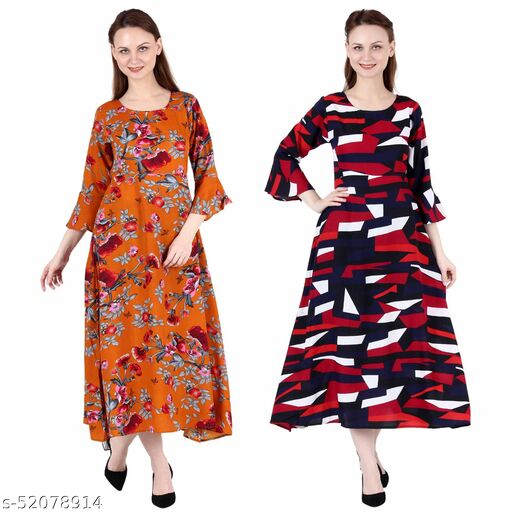 Heavens Creation A Line Dress with Inner Cotton Lining Orange Printed and Abstract Print Pack of 2 Gowns