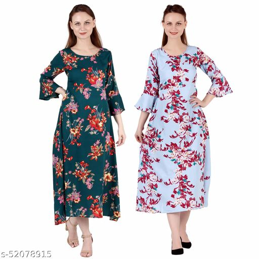 Heavens Creation A Line Dress with Inner Cotton Lining Dark Green Printed and Light Blue Printed Pack of 2