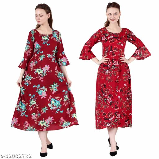 Giggles Creations A Line Dress with Inner Cotton Lining Maroon Prined and Red Prined Pack of 2