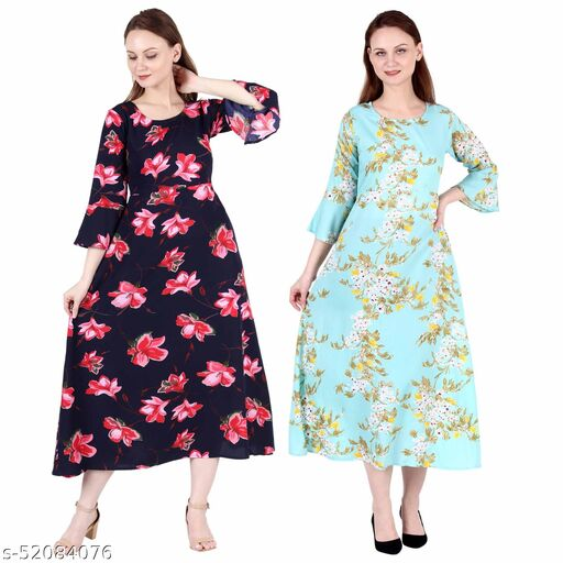 Giggles Creations A Line Dress with Inner Cotton Lining Blue Pink Flower Printed and See Green Printed Pack of 2