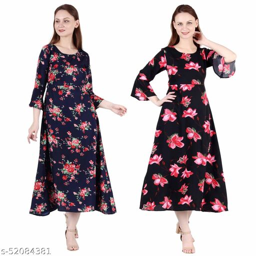Giggles Creations A Line Dress with Inner Cotton Lining Nevy Blue Printed and Black Pink Flower Printed Pack of 2 Gowns