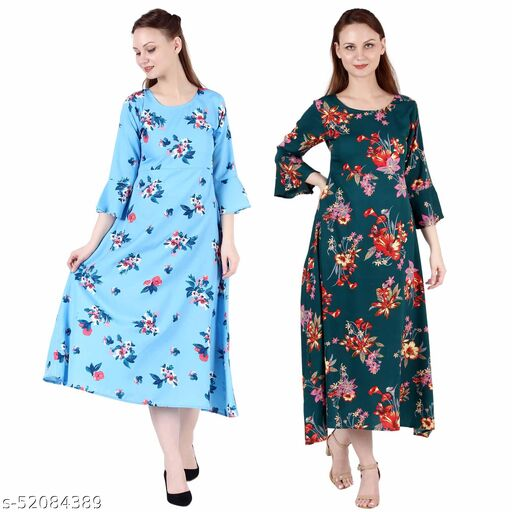 Giggles Creations A Line Dress with Inner Cotton Lining Sky Blue Printed and Dark Green Printed Pack of 2