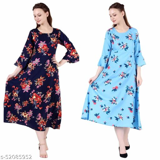 Shanaya Moda A Line Dress with Inner Cotton Lining Nevy Printed and Sky Blue Printed Pack of 2