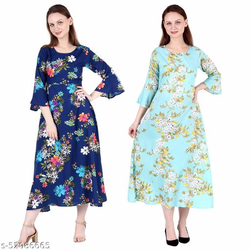 Shanaya Moda A Line Dress with Inner Cotton Lining Royal Blue Printed and See Green Printed Pack of 2