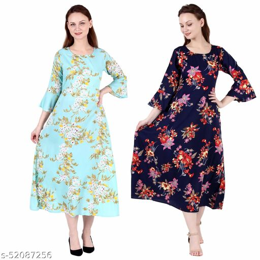 Shanaya Moda A Line Dress with Inner Cotton Lining See Green Printed and Nevy Printed Pack of 2