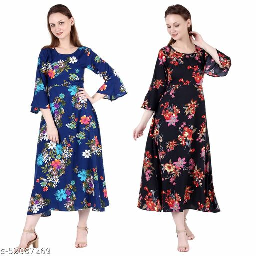Shanaya Moda A Line Dress with Inner Cotton Lining Royal Blue Printed and Black Silver Pack of 2