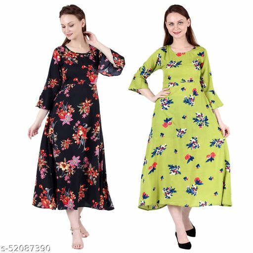 Shanaya Moda A Line Dress with Inner Cotton Lining Black Silver and Light Green Printed Pack of 2