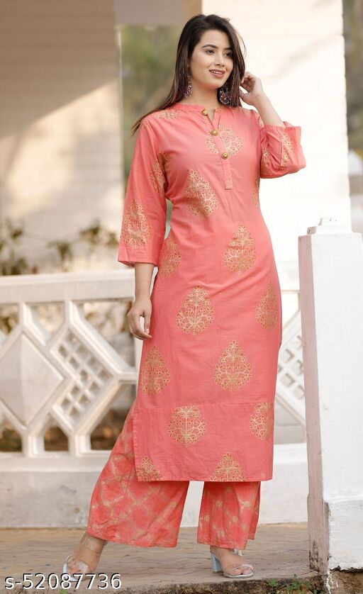 Floral Printed Show Button Kurti with Palazzo Pants