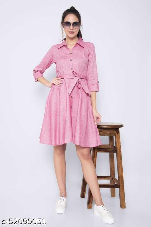 Pink Color Khadi Cotton Dress