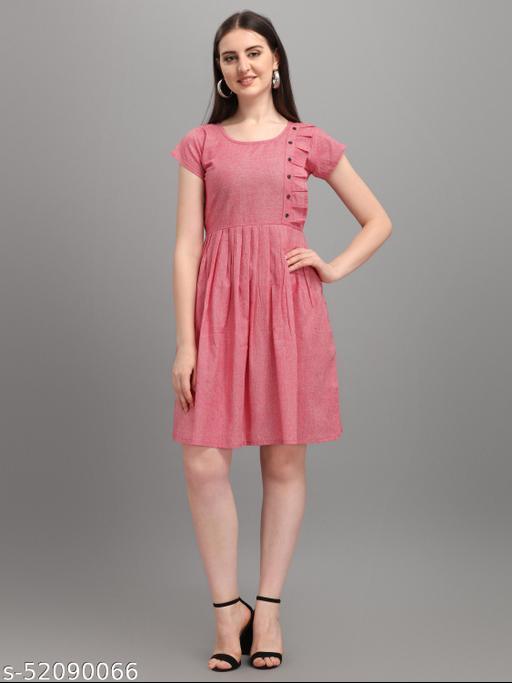 Pink Color Khadi  Cotton western dress