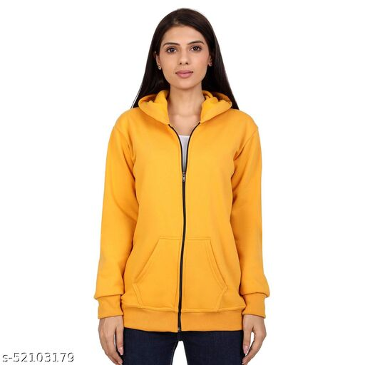 The Walkdeal Plain Ziper Hoodie For Women yellow