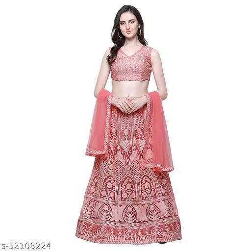 KANHA FASHION Women's Net Semi-stitched Lehenga Choli (KF_101103_Pink_Free Size)