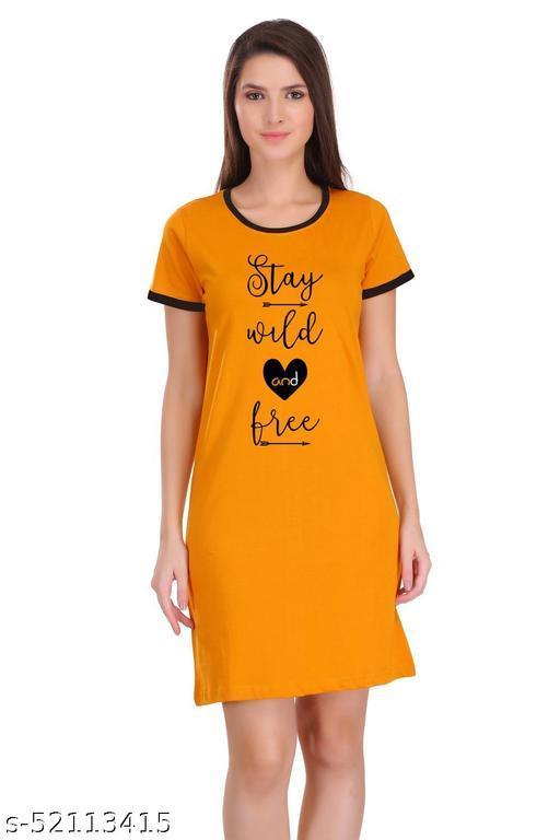 Itki Utki Stay Wild n Free Quotes Slogan Printed Ringer Dress For Women | 100% Cotton