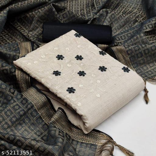 Women's Khadi Cotton With Work Dress Material