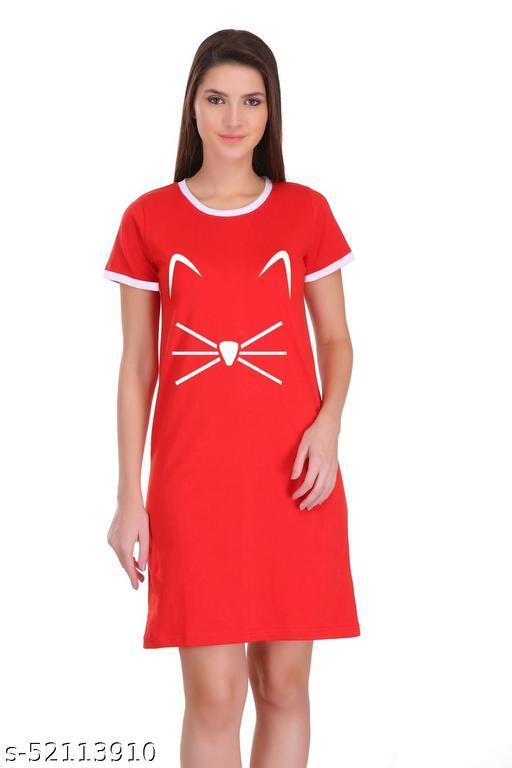 Itki Utki Cat Face Graphic Printed Ringer Dress For Women |100% Cotton