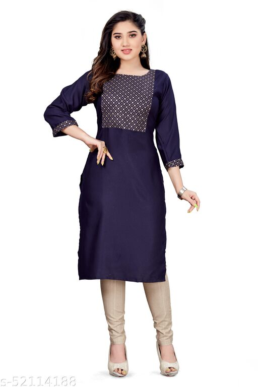 Womens Nevy blue And Cream Kurti Set (Top And Bottom)exclusive for Function and Casual Wear