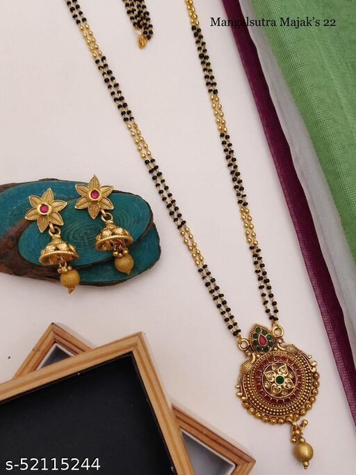 SGC New Traditional Gold Plated Mangalsutra With matte Finished 22 Inches long For women with Beautiful Earrings Set