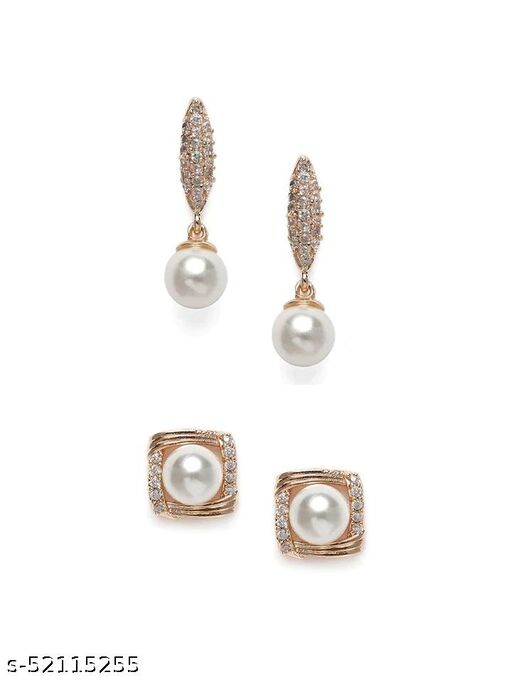 Stylish Daily Wear Rose Gold American Diamond Earrings For Women Girls Combo (Pack of 2 Pair)