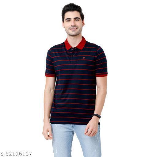 Fervoro mens polo neck  navy tshirts