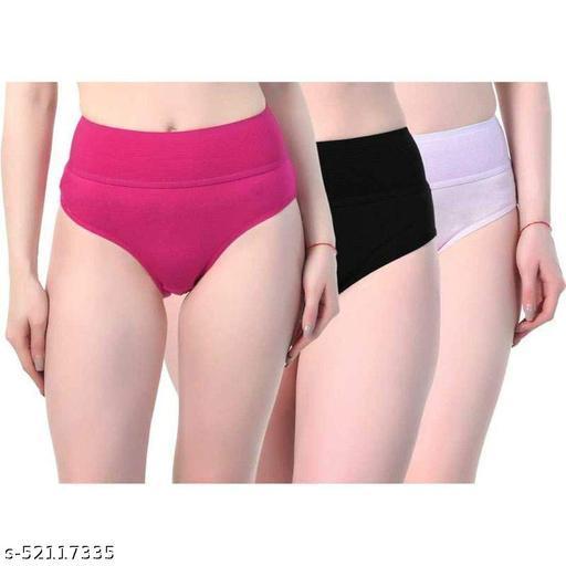 AQUAZZURA Pack of 3 Women's 4 Way Spandex Cotton Lycra Multicolor Tummy Controller Hipster Panties