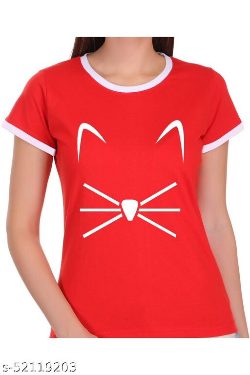 ItkiUtki Cat Face Ringer Printed T-shirt