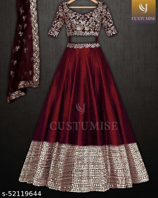 Maroon Colored Party Wear Lehengha Choli With Embrodariy Work -LC278