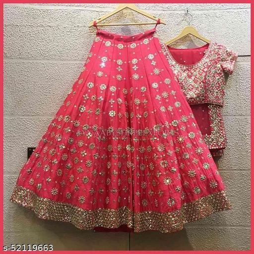 Outstanding Gajari Colored Partywear Designer Embroidered Malay Satin New Silk Lehenga Choli-LC254