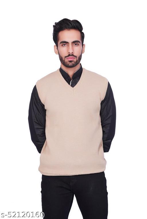 F10 Mens Woolen Regular Fit Solid V Neck Half Sleeve Sweater