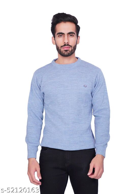 F10 Mens Woolen Slim Fit Solid Round Neck Full Sleeve Sweater