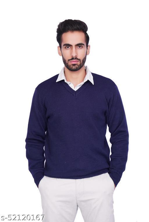 F10 Mens Woolen Regular Fit Solid V Neck Full Sleeve Sweater