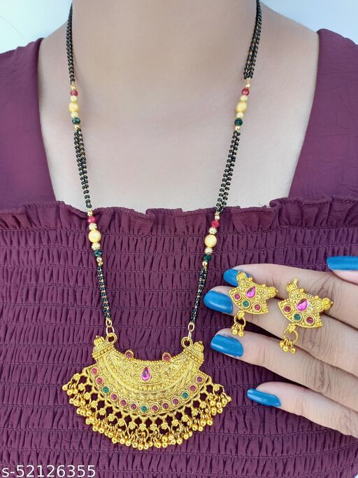 Women's Alloy Gold Plated Mangalsutra Set
