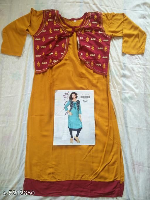 Kurtis & Kurtas Women's Quirky Printed Rayon Kurti  *Kurti Fabric* Rayon  *Jacket Fabric* Rayon  *Sleeve Length* Three-Quarter Sleeves  *Set Type* Kurti With Jacket  *Pattern* Printed  *Multipack* Single  *Sizes*   *XL (Bust Size* 42 in, Kurti Length Size  *Sizes Available* L, XL *    Catalog Name: Women's Printed Rayon Kurtis CatalogID_771562 C74-SC1001 Code: 055-5212650-