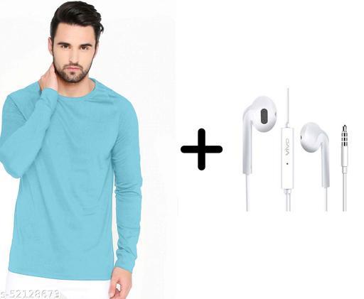 branded plain full sleeve sky blue tshirt with vivo earphones free