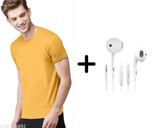 branded plain half sleeve yellow tshirt with oppo earphones free
