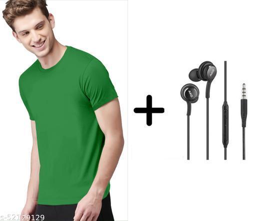 branded plain half sleeve green tshirt with samsung akg earphones free