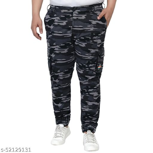 John Pride Stretchable Plus Size Men camouflage Regular Fit Grey Jeans