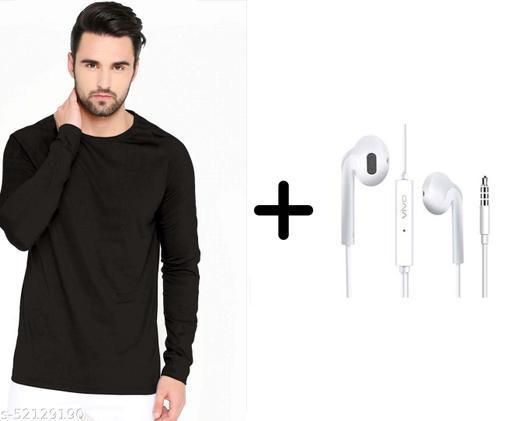 branded plain full sleeve black tshirt with vivo earphones free