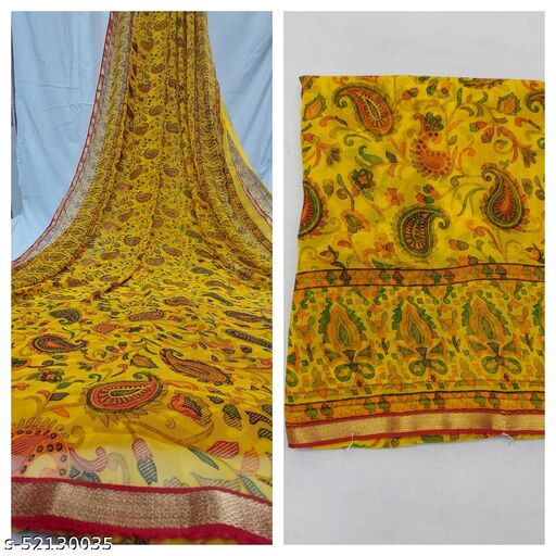 Floral Print Pure Georgette Saree With Lace Border & Blouse Piece