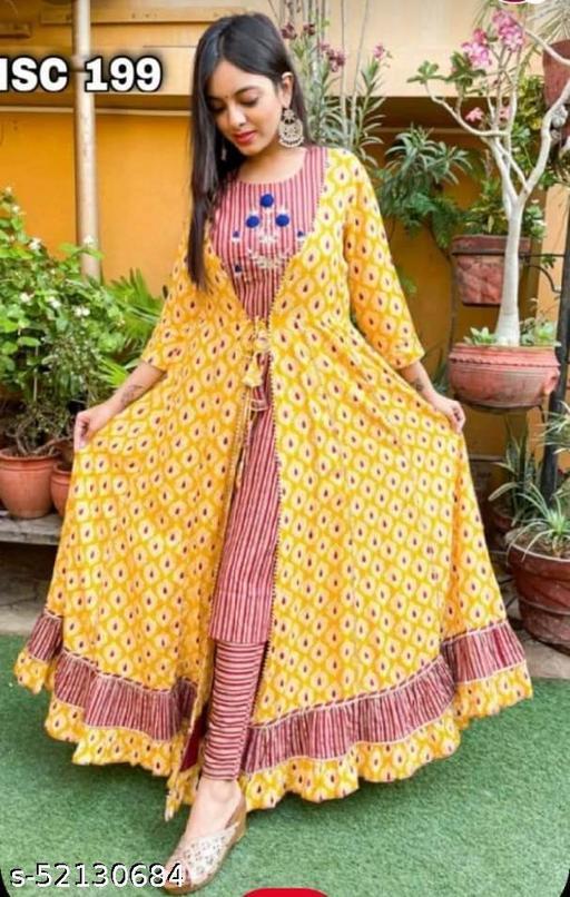 Cotton  long kurta with paints