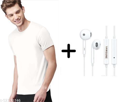 branded plain half sleeve white tshirt with samsung earphones free