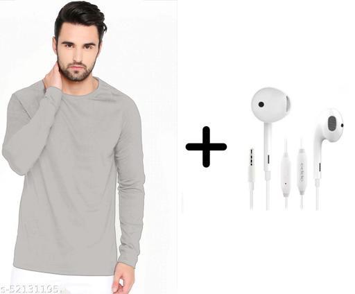 branded plain full sleeve grey tshirt with oppo earphones free