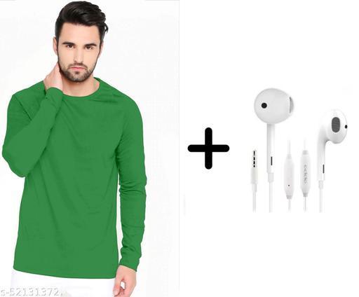 branded plain full sleeve green tshirt with oppo earphones free