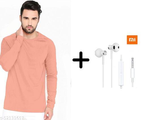 branded plain full sleeve pink tshirt with mi earphones free