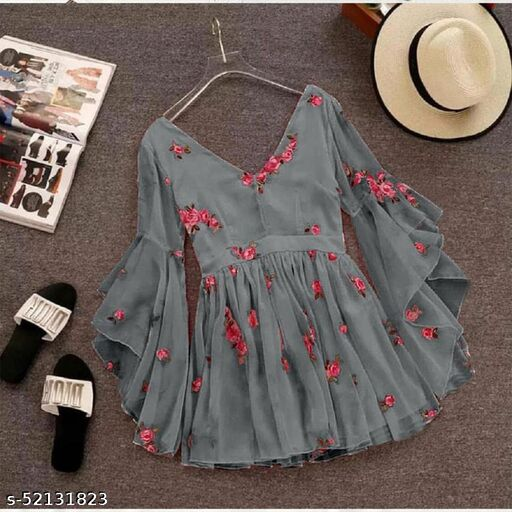 HAPPY SHOP LAUNCH GORGETTE SHORT FLOWER DRESS