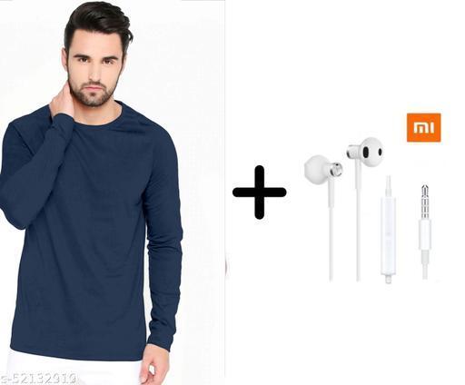 branded plain full sleeve blue tshirt with mi earphones free